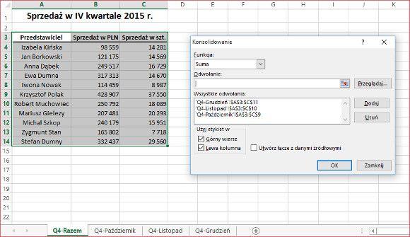 Excel - konsolidacja