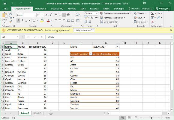 Excel - widok chroniony