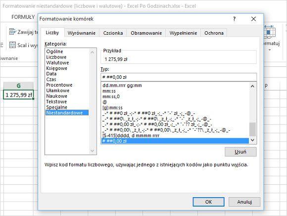 Excel - formatowanie niestandardowe