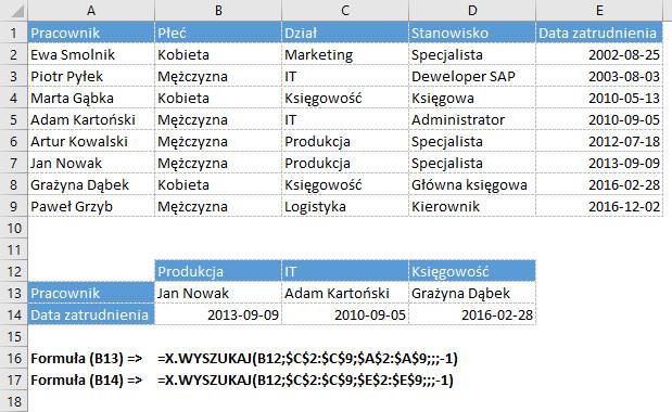 Funkcja X.WYSZUKAJ w Excelu